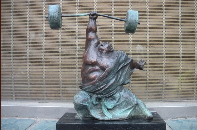 signed-pure-bronze-marble-statue-art-hercules-weightlifting-sculpture